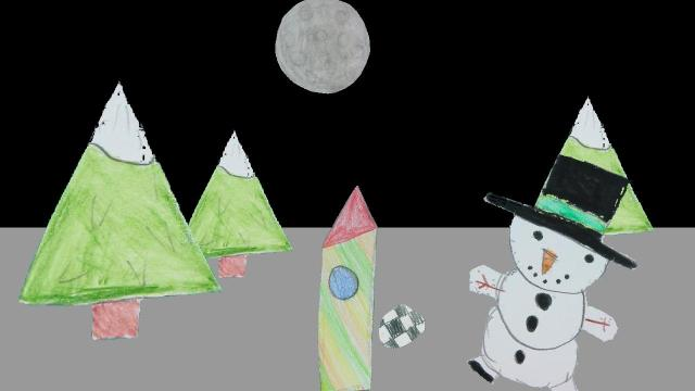 Der Schneemann auf dem Mond